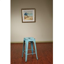 "Bristow 26"" Antique Metal Barstool, Antique Sky Blue Finish, 4 Pack"