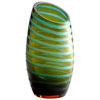 Lg Angle Cut Etched Vase