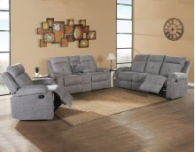 "Empire Recliner Console Loveseat, Grey, 74""x38""x39"""