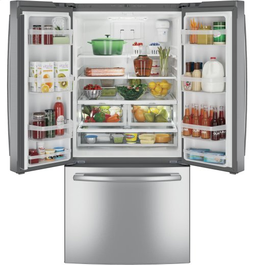 """OVERSTOCK - SAVE! - 33"""" WIDE STAINLESS STEEL GE® ENERGY STAR® 24.8 Cu. Ft. French-Door Refrigerator"""