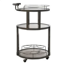 Rio 3 Tier Round Bar Cart and Wine Rack - Gunmetal / Tinted Glass