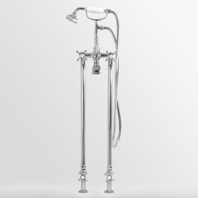 Floor Mount Telephone Tub Filler and Handshower Set with Riser Legs and Shut-Off Kit shown with St. Michel handles