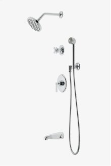 "Transit Pressure Balance Shower Package with 6"" Rain Shower Head, Handshower and Diverter Cross Handle STYLE: TRSP09"