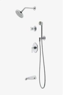 "Transit Pressure Balance Shower Package with 6"" Rain Shower Head, Handshower and Diverter Cross Handle STYLE: TRSP09"