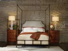 Metal Bed-queen, Iron With Neutral Linen Upholstery.