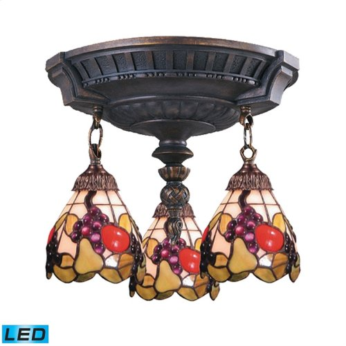 Mix-N-Match 3-Light Semi Flush in Aged Walnut - LED, 800 Lumens (2400 Lumens Total) with Full Scale