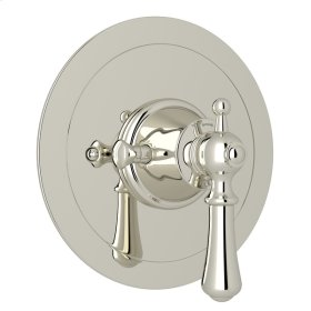 Polished Nickel Perrin & Rowe Georgian Era Round Thermostatic Trim Plate Without Volume Control with Georgian Era Solid Metal Lever