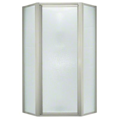 Intrigue™ Neo-angle Shower Door - Nickel with Rain Glass Texture