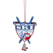 """Live to Ski"" Ornament."