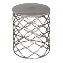 Bengal Manor Solid Iron Accent Table in Nickel Finish w/ Grey Marble Top
