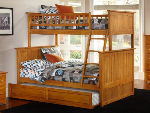 Nantucket Bunk Bed Twin over Full with Raised Panel Trundle Bed in Caramel Latte