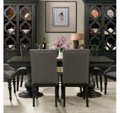 Corinne Dining Table Top 231 lbs Ebonized Acacia finish