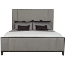 Queen-Sized Linea Upholstered Panel Bed in Cerused Charcoal (384)