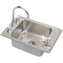 "Elkay Lustertone Classic Stainless Steel 25"" x 17"" x 6-1/2"", Single Bowl Drop-in Classroom ADA Sink Kit"