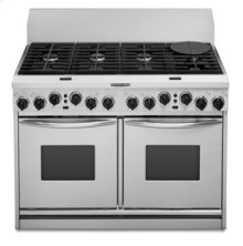 "48"" Width 8 Burners Porcelain-on-Steel Cooktop True Convection Oven Dual Fuel Freestanding or Slide-In Range"