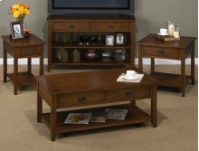 RED HOT BUY! BE HAPPY! End Table W/one Drawer, One Shelf and Black Mission Hardware