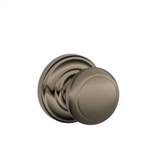 Andover Knob with Andover trim Non-turning Lock - Antique Pewter