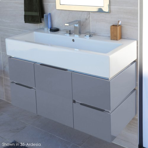 Wall-mounted undercounter vanity with finger pulls, no polished steel accents, four drawers and one door, washbasin 5460 sold separately,