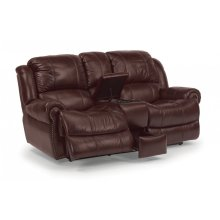 Capitol Leather Power Reclining Loveseat with Console
