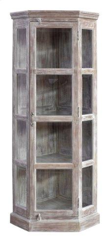Bengal Manor Mango Wood Corner Beveled Glass Door Curio