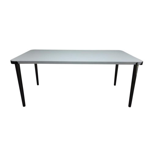 Riverbank Contemporary White and Black Nickel Dining Table