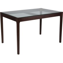 """Everett 31.5"""" x 47.5"""" Rectangular Solid Espresso Wood Table with Clear Glass Top and Exposed Industrial Hardware"""