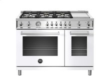 48 inch 6-Burner + Griddle, Gas Double Oven White
