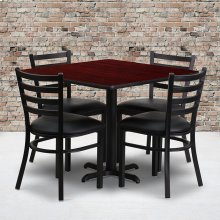 36'' Square Mahogany Laminate Table Set with X-Base and 4 Ladder Back Metal Chairs - Black Vinyl Seat