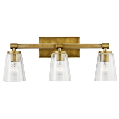 Audrea 3 Light Vanity Light Natural Brass