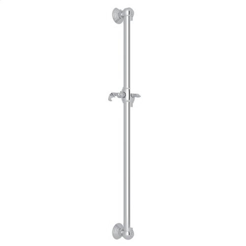 "Polished Chrome 42"" Decorative Grab Bar With Lever Handle Slider"