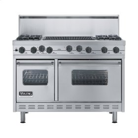 """Stainless Steel 48"""" Sealed Burner Self-Cleaning Range - VGSC (48"""" wide, four burners & 24"""" wide char-grill)"""