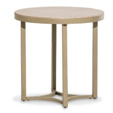Alta Round End Table W/travertine Marble Top