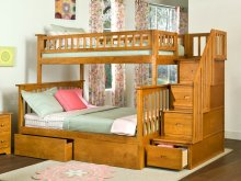 Columbia Staircase Bunk Bed Twin over Full with Urban Bed Drawers in Caramel Latte