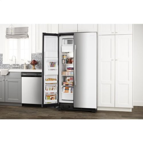 36-inch Side-by-Side Refrigerator with Dual Pad External Ice and Water Dispenser - white