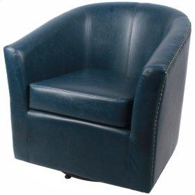 Ernest Bonded Leather Swivel Chair, Vintage Blue