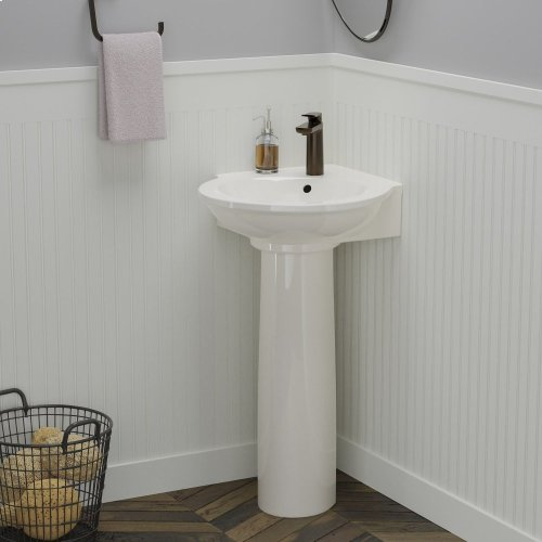 Evolution Corner Pedestal Lavatory - Single-Hole / Bisque