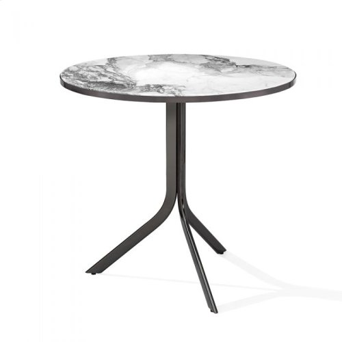 Carina Bistro Table - Arabescato/ Gun Me