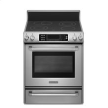 Freestanding Electric Range True Convection Oven Beveled Glass Cooktop Contoured Front Control Knobs Four Elements Three Double-Ring Elements Pro Line™ Series