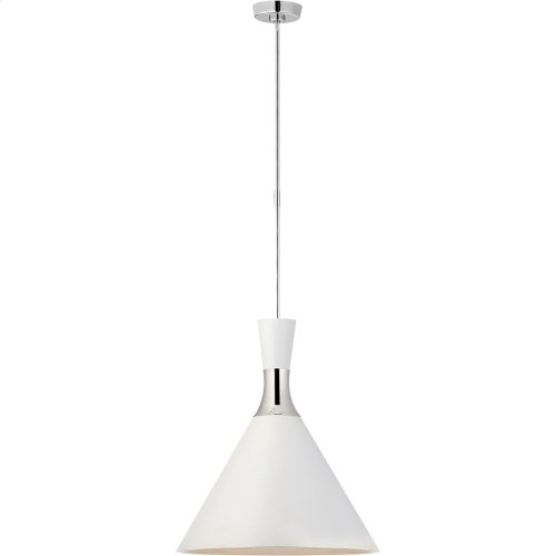 Visual Comfort S5642PN-WHT Studio VC Liam 1 Light 20 inch Polished Nickel Pendant Ceiling Light, Large Conical
