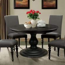 Corinne - Round Pedestal Dining Table Top - Ebonized Acacia Finish