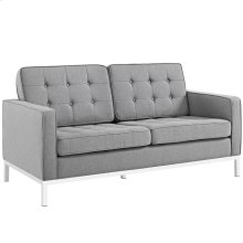 Loft Upholstered Fabric Loveseat in Light gray