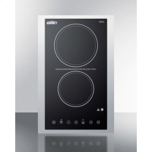 """Summit230v 2-burner Cooktop In Black Ceramic Schott Glass With Digital Touch Controls and Stainless Steel Frame To Allow Installation In 15"""" Wide Counter Cutouts, 3000w"""