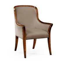Low Curved Back Upholstered Dining Armchair
