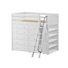 High Loft w/ Angle Ladder, 5 Drawer Dresser, Narrow 5 Drawer Dresser & Bookcase : Twin : White : Panel