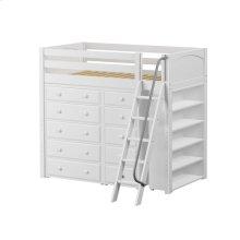 High Loft w/ Angle Ladder, 5 Drawer Dresser, Narrow 5 Drawer Dresser & Bookcase : Twin : White : Panel