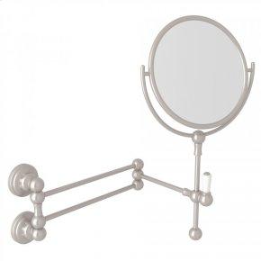 Satin Nickel Perrin & Rowe Edwardian Wall Mount Shaving Mirror