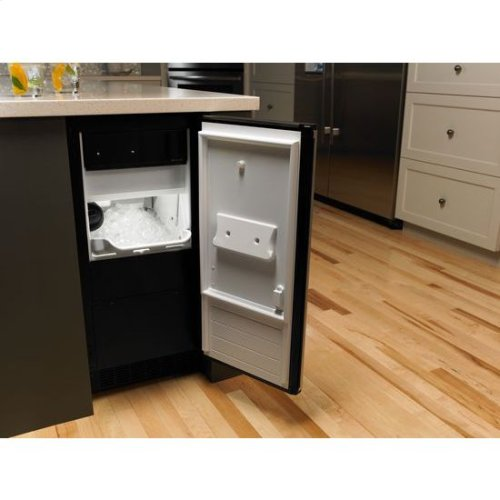 """Jenn-Air® Euro-Style 15"""" Under Counter Ice Machine with Factory Installed Drain Pump - Stainless Steel"""