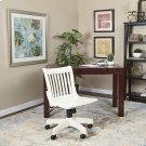 Deluxe Armless Wood Bankers Chair With Wood Seat (white Finish) Product Image