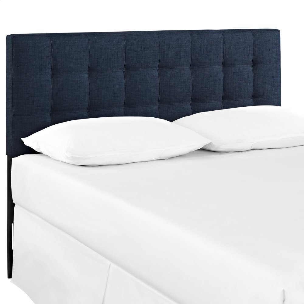 Lily King Upholstered Fabric Headboard in Navy