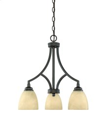 3 Light Chandelier in Burnished Bronze